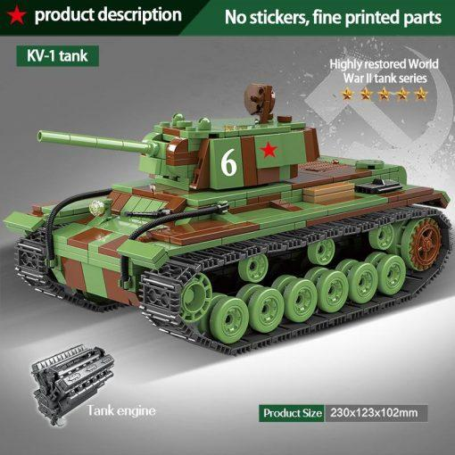 KV-1 (Klimenti Voroshilov) Russian Heavy Tank - 768 Pieces + Weapons