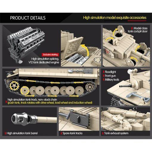Tiger 131 German Battle Tank - 1018 Pieces + Weapons