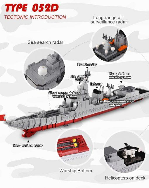 Chinise Type 052D Destroyer - 1359 Pieces