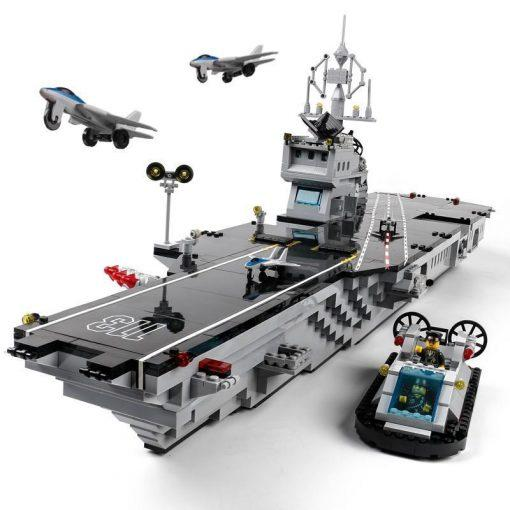 Military Aircraft Carrier with Hovercraft - 990 Pieces