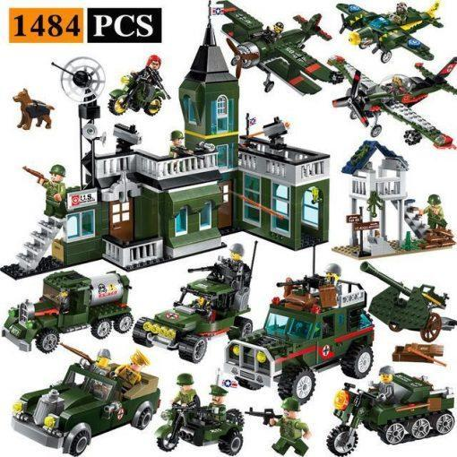 Military Base World War 2 Playset - 1484 Pieces