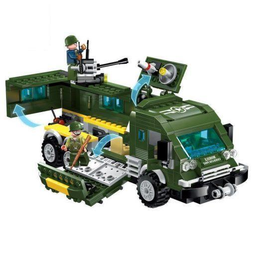 Military Truck Playset with Plane, Bike & Dog - 231 Pieces