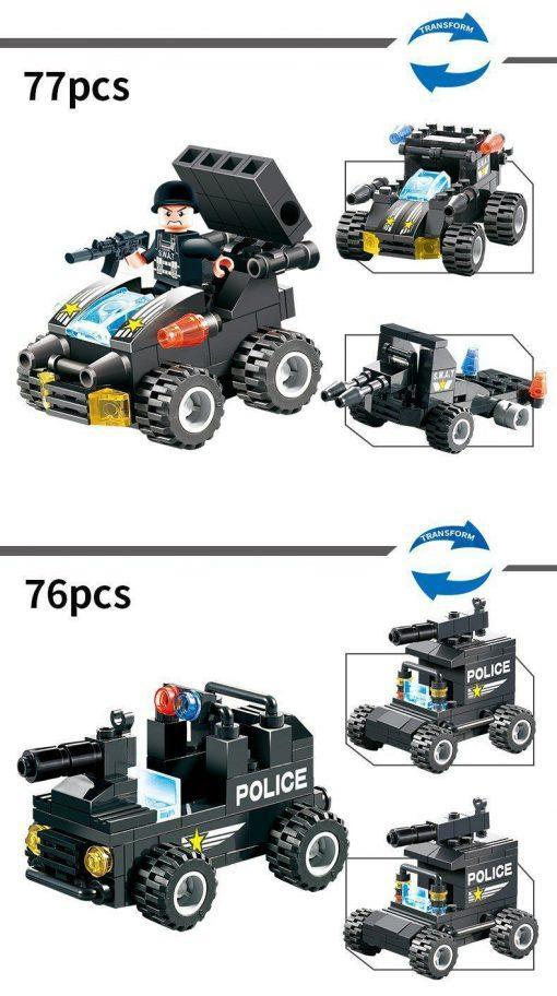 SWAT Playset 8in1 Truck/Vehicles - 647 Pieces