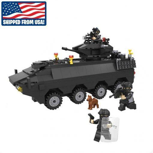 SWAT Tank with 3 Soldiers and Dog - 418 Pieces
