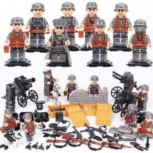 WW2 German Soldiers 8 Minifigures Pack with Weapons, Cannons & Barricades