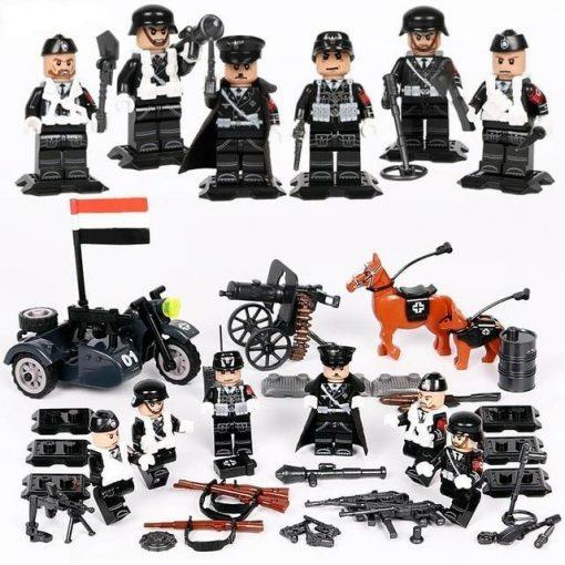 WW2 German Soldiers 6 Pack Playset with Sidecar & Weapons