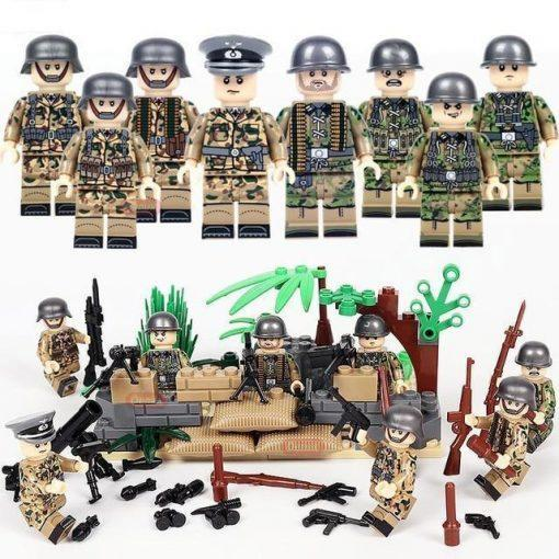 WW2 German Soldiers 8 Minifigures Pack with Weapons, Mortars & Barricades
