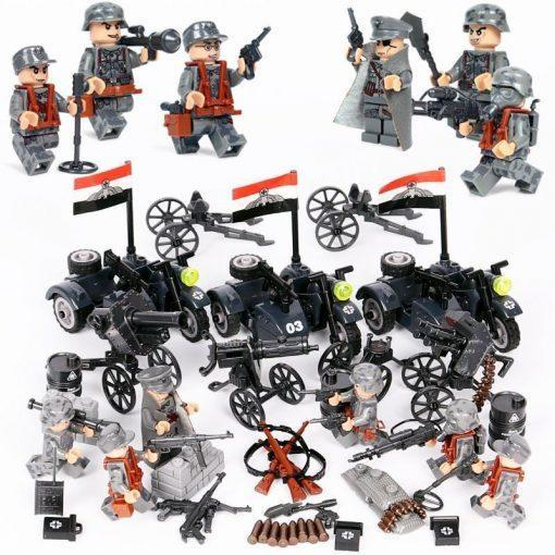 WW2 German Soldiers Minifigures 6 Minifigures Pack with 3 Sidecars + Weapons