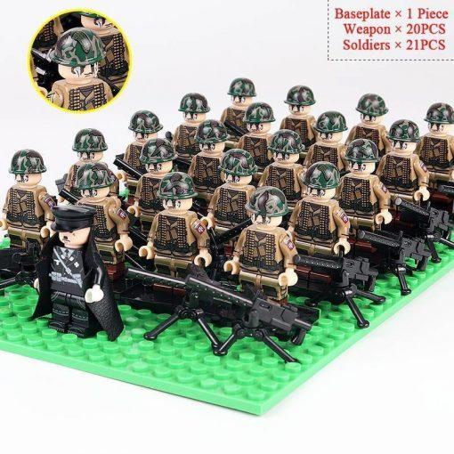 WW2 German Soldiers Mortars Team 20 Minifigures Pack + Commander & Weapons