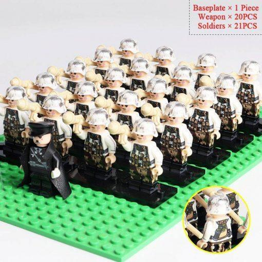 WW2 German Soldiers Rocket Launchers Team 20 Minifigures Pack + Commander & Weapons