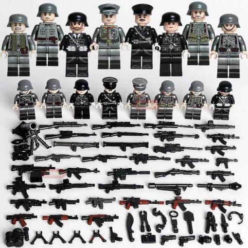 WW2 German Soldiers SS Das Reich 8 Minifigures Pack with Weapons