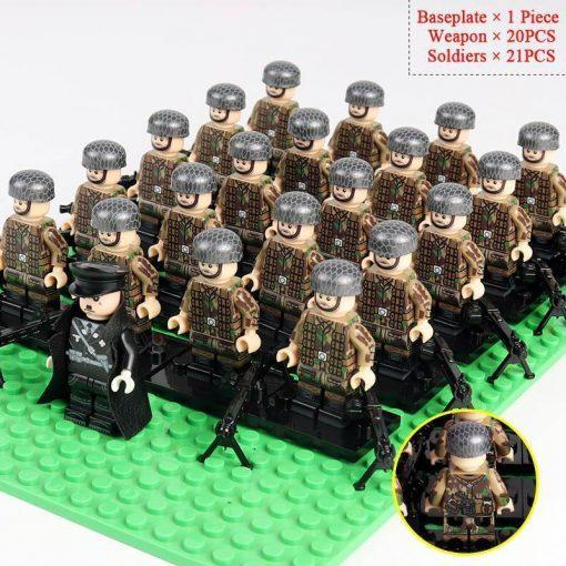 WW2 German Soldiers Snipers Team 20 Minifigures Pack + Commander & Weapons