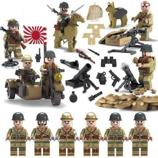 WW2 Japanese Soldiers 6 Minifigures Playset Pack with Sidecar, Weapons, Horse & Dog