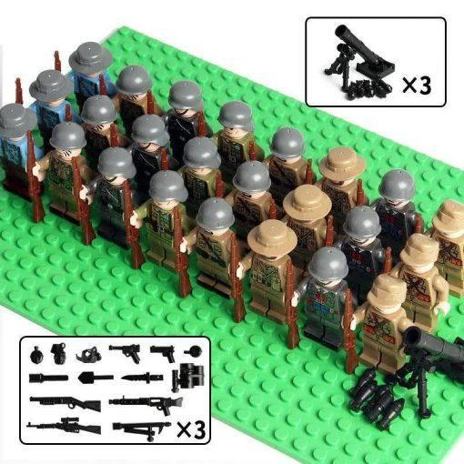 WW2 Soldiers 24 Minifigures Pack with Weapons - All Fighting Countries