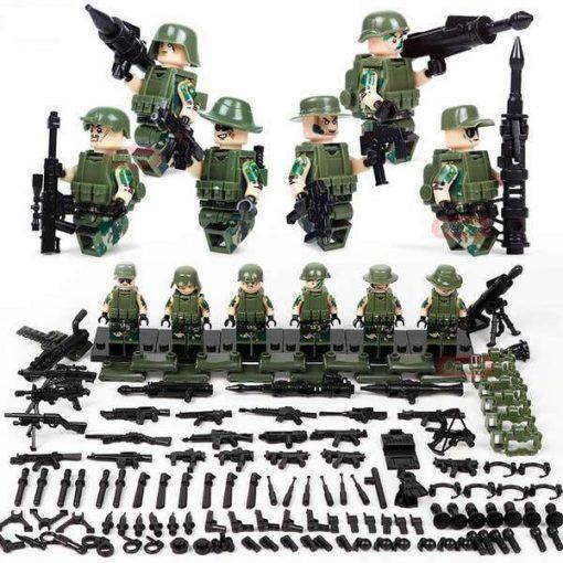 WW2 US Soldiers 6 Minifigures Pack with Weapons & Cannons