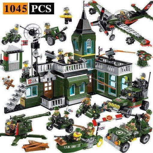 World War 2 Military Base Playset - 1045 Pieces